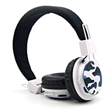 GranVela A809 Foldable Headphones Over Ear Stereo Comfort Headset New Fashionable Music Player,Micro SD Player ,3.5mm Detachable Audio Cable, Handsfree Headset, Earphone, Support TF Card, FM Radio, Can Be Connected to Computer, Notebook, Tablet PC, Mobile phone, MP3/MP4 (Does Not Contain Bluetooth)--Camouflage white