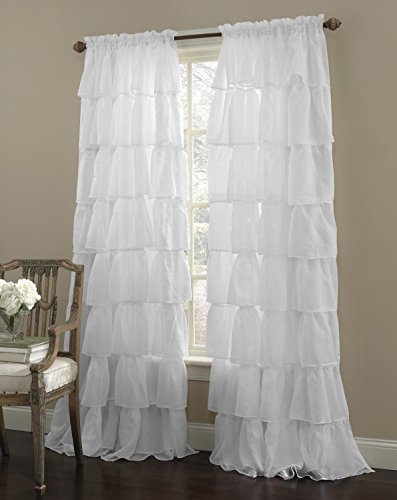 Decotex 1 Piece Gypsy Ruffled Shabby Chic Crushed Voile Sheer Window Curtain Treatment Panel Drape (55