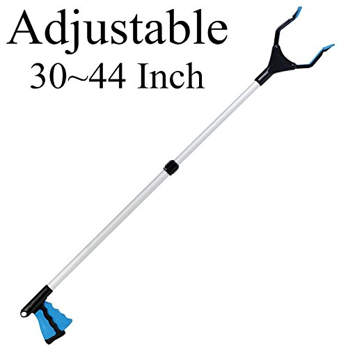 EJG Adjustable Length 30-44 Inch Gripn Grab Reach Tool Maximum 3Pound Carrying Capacity Trash Grabber Pick-Up Grabber Garbage Picker