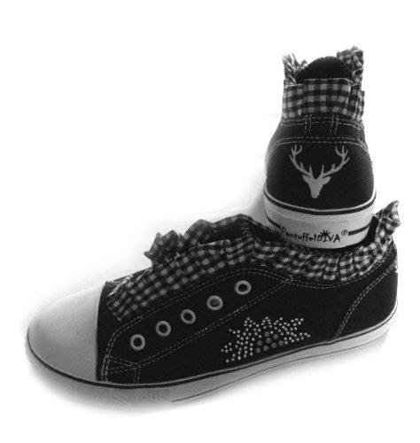 PantoffelDIVA, Damen Sneaker Schwarz, Low Top, pfiffiger Trachtenschuh für Dirndl und Lederhose mit Edelweiß, Strass, Hirsch (40)