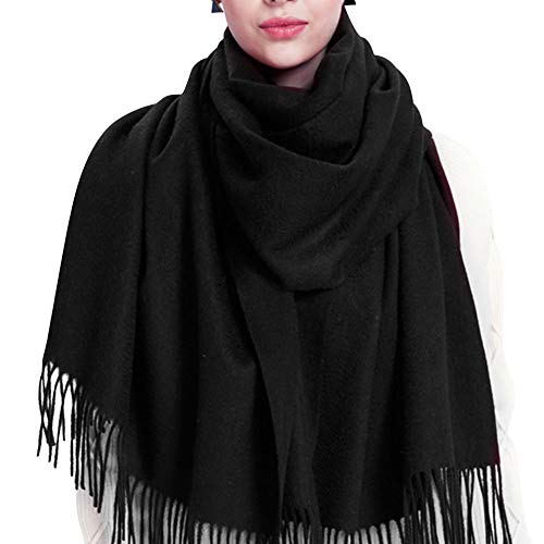 (100% Lambswool Winter Scarf with Tassels for Women Oversized Scarf Wraps Wool Shawl)
