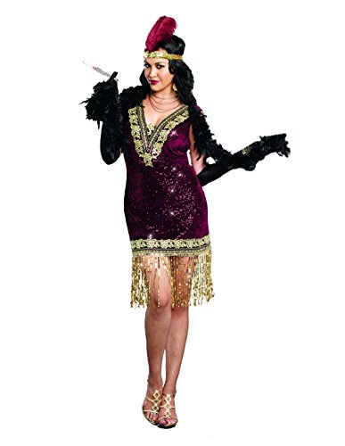 Dreamgirl Women's Plus-Size Sophisticated Lady 1920s Flapper Party Costume, Burgundy, 3X/4X -