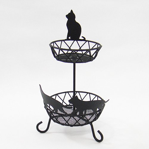 Gourmet Two-Tier Black Cat Basket (Stainless w Matte Coating)