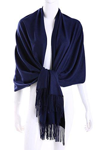 - MuNiSa Women's Large Soft Pashmina Cashmere Blend Shawls Wrap Stole Scarf with Tassel (Navy)