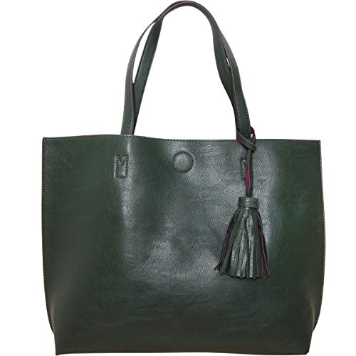 Humble Chic Large Vegan Leather Tote Bag Reversible Shoulder Handbag Tassel Purse, Hunter Green & Fuchsia, Dark Forest, Olive, Hot Pink, ()