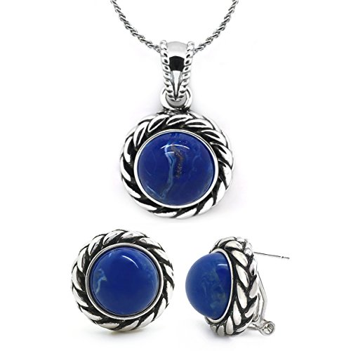 Vintage Jewelry Set Blue Braided Rope Pendant Necklace Matching Omega Earrings Women Fashion ()