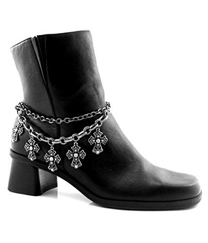 Roger Enterprises Boot Chain Anklet Ankle Bracelet Dangle Filagree Crosses with Rhinestones ()