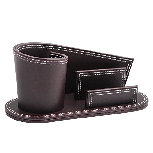 Leather Accessory Business Card - PU Leather Pencil Holder Name Card Holder Pen Cup Black/Brown Desk Stationery Organizer Home Office Business Style Desk Accessories Storage Box Container