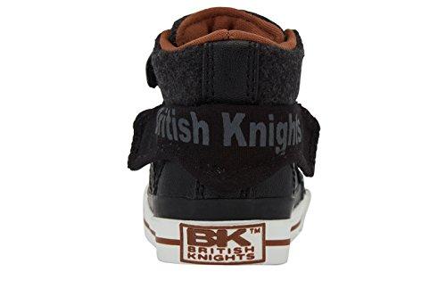 British Knights Unisex-Erwachsene ROCO High-Top NOIR/GRIS FONCÉ/COGNAC