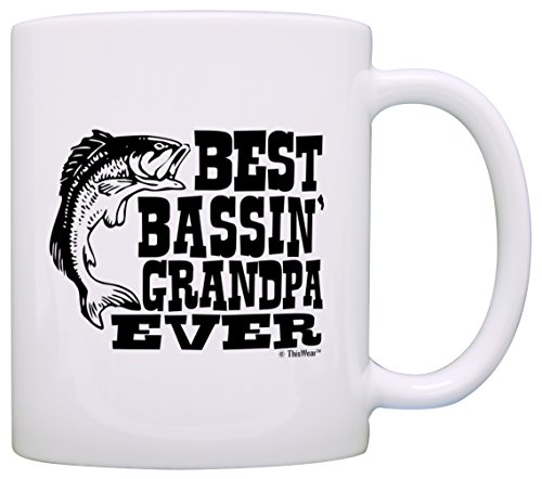 Father's Day Gift for Grandpa Best Bassin' Grandpa Ever Fishing Gift Coffee Mug Tea Cup White