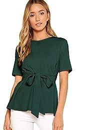 Romwe - Blusa de Manga Corta para Mujer, Estilo Casual, Cuello Redondo, Color Verde, Talla XS