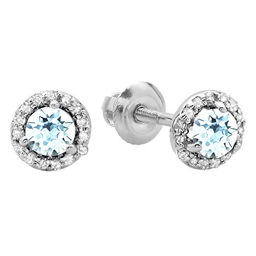 Dazzlingrock Collection 0.50 Carat (ctw) 14K Round Aquamarine & White Diamond Ladies Halo Style Stud Earrings 1/2 CT, White Gold ()