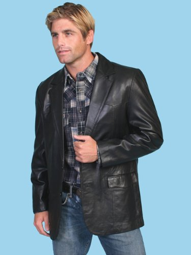 Scully Leather Mens Western Sportcoat Blazer Jacket Button Front Black 56