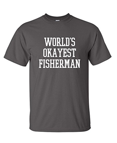 Awesome Novelty T-shirts (World's Okayest Fisherman Fishing Novelty Gift Funny T Shirt 4XL Charcoal)