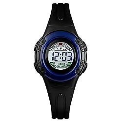 Vavna Waterproof Sports Watch Digital Led Rubber Wristwatches Gift for Girls Boys Kids Children Calendar Alarm Clock (Black)