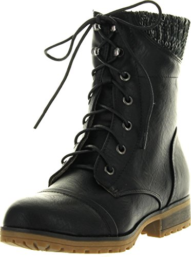 Refresh Womens Wynne-06 Combat Flat Style Lace Up Back Zipper Mid-Calf Bootie,Black,9
