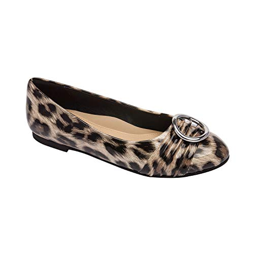 Pic & Pay Kelli - Round Toe Ballet Flat Ornament Comfortable Insole Vegan Patent Padded Arch Support Leopard Print Vegan Patent 7.5M