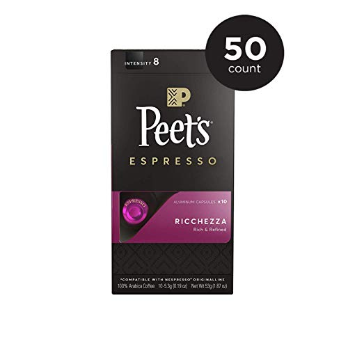 Peet's Coffee Espresso Capsules Ricchezza, Intensity 8, 50 Count Single Cup Coffee Pods Compatible with Nespresso Original Brewers