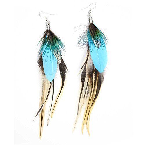 Teal Blue Goose Feather Earrings