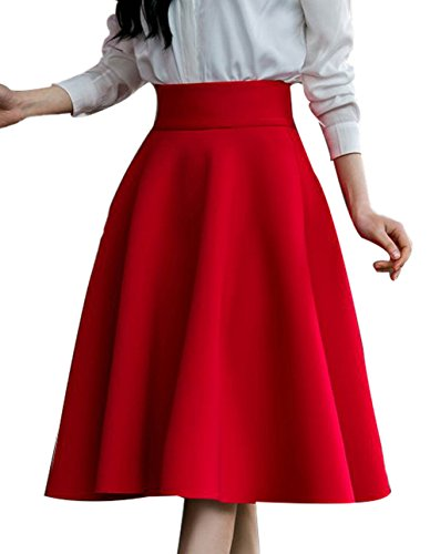 FACE N FACE Women's High Waist A Line Pleated Full Skater Bubble Skirt XX-Large Red