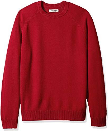 (Goodthreads Men's Lambswool Crewneck Sweater, red, Medium)