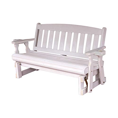 CAF Amish Heavy Duty 800 Lb Mission Pressure Treated Porch Glider with Cupholders (5 Foot, Semi-Solid White Stain) by Amish Casual