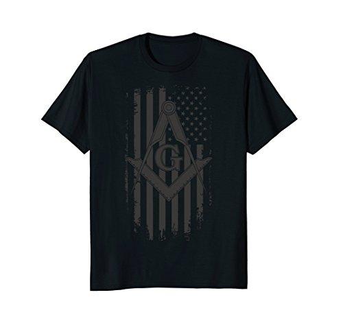 Mens Masonic American Flag Square and Compass - Freemason T-Shirt 3XL Black