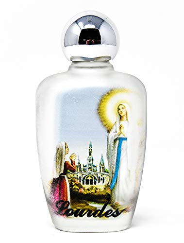 Lourdes agua bendita en una botella de cristal ovalada de color + Lourdes tarjeta de oración