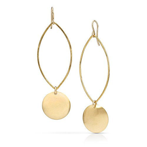 Vermeil Earrings Disc (Domed Disc Petals - 18K Gold Vermeil)