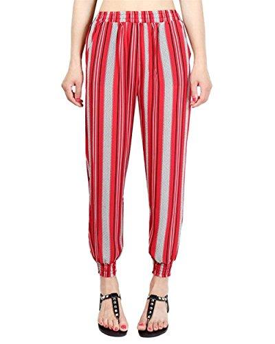 Pingrog Donna Pantaloni Harem Vintage Stampato Tempo Libero Pantaloni Pattern Vita Elastica High Waistchic Eleganti Sciolto Pantaloni Estivi Hippie Pluderhose Colour-6