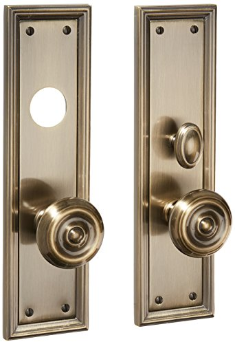 (Baldwin 6547.ENTR Nashville Single Cylinder Mortise Handleset Trim Set, Satin Brass and Black)