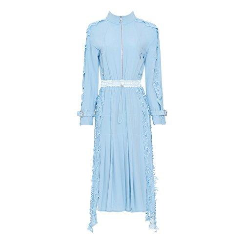 Claro Plisada Xuanytp Manga Falda Vestido Azul Larga De Encaje x8x4HT