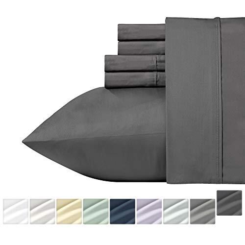 California Design Den Sateen Queen Sheets - 400 Thread Count 6 Piece Bedding Set, Dark Grey Soft Sheet Set, 100% Natural Cotton for Ultimate Comfort, Deep Pocket Fits Mattress Upto 18 Inches