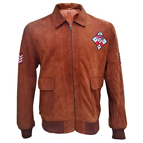 Marche Sydney Mens Hazuki Shenmue Ryo Brown Suede Leather Jacket 2XS to 3XL (Med - Jacket Chest 46