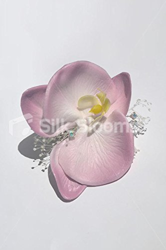 (Dusky Pink Real Touch Orchid Dried Gypsophila Wedding Hair Clip)
