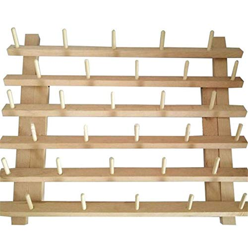 Youzpin Wooden 30 Spools Folding Sewing Coil Rack, Sewing Thread Bobbin Storage Rack,Sewing Quilting Embroidery Thread Rack,Sewing Thread Storage ()