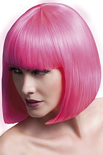 Fever Women's Sleek Neon Pink Bob with Bangs, 13inch, One Size, Elise,5020570425657 ()