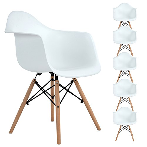 Set of 6 Dining Chair Office Chair, Ajie Armchair Eiffel Style Lounge ArmChair Chairs with Solid Beech for Dining Room Living Room Cafe Kitchen Office...
