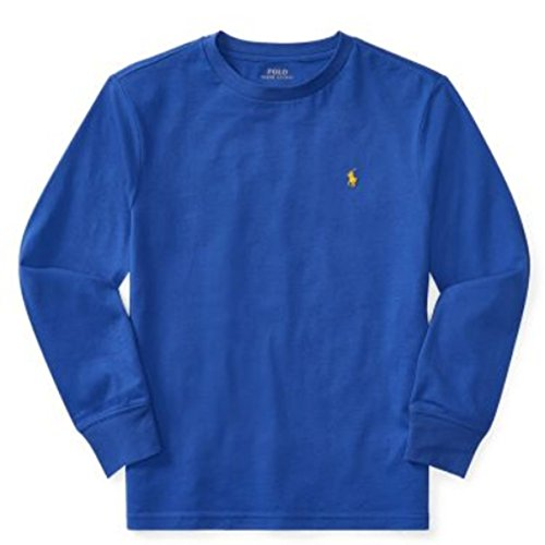 Polo Ralph Lauren Boys Cotton Long Sleeve Crew Tee Shirt (Barclay Blue, X-Large (18-20)) (Lauren Polo Top Ralph)