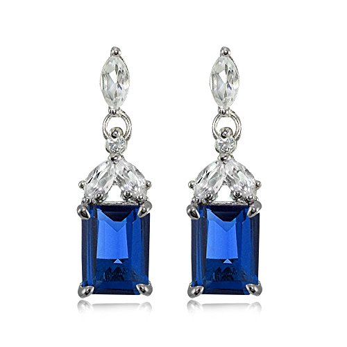 Sterling Silver Created Blue Sapphire and White Topaz Emerald-Cut Dangle (Emerald Cut Dangle)