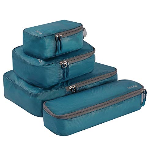 BAGAIL 4 Set Ultrathin Packing Cubes Travel Packing Organizers for Luggage or Carry On Backpack Teal(M+S+XS+Slim)