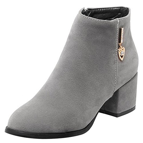 COOLCEPT Damen Mode Mitte Blockabsatz Ankle Stiefel Mit Zipper Grau