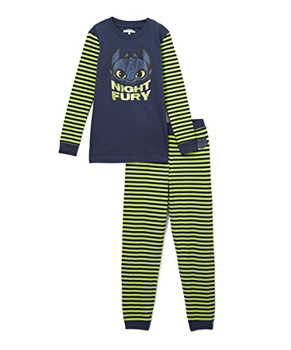 Intimo Big Boys' How To Train Your Dragon Night Fury Pajama Set, Multi, 8 (Night Dragon Fury)