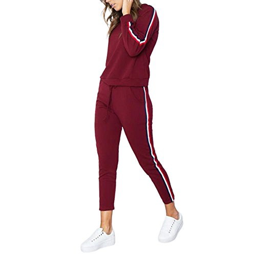 Dreamyth-Winter 2PCS Womens Tracksuit Hoodies Sweatshirt Top Pants Sets Sport Wear Casual Suit (Red, S)