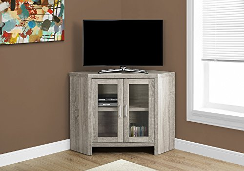 Monarch Specialties I 2701 Corner with Glass Doors TV Stand 42' Dark Taupe