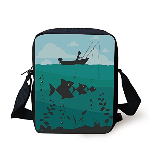 IPrint Fishing Decor,Single Man in Boat Luring with Bobbins Nautical Marine Sea Nature Funky Image,Blue Teal Print Kids Crossbody Messenger Bag Purse (Luring Tea)