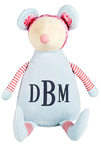 Personalized Stuffed Pastel Mouse with Embroidered Roman Monogram - Roman Pastel