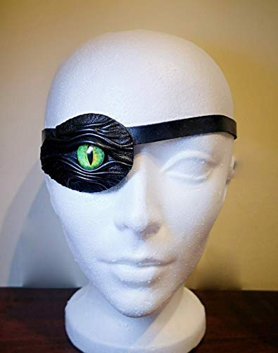 Glass Stage (Black Genuine Leather Eye Patch Leather Straps Buckle. Suitable for Permanent Use. Cosplay, Larp, Steampunk, Pirate Captain. Medical Stage, Halloween Costume. For the Right or Left Eye.)