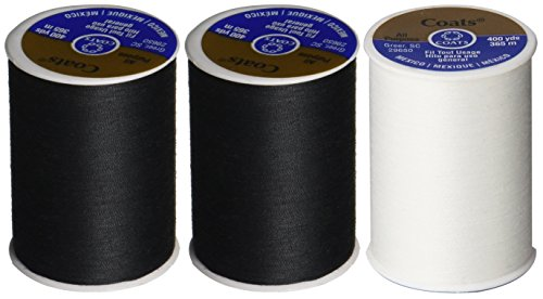 3-Pack -2 BLACK & 1 WHITE - Coats & Clark Dual Duty All-Purpose Thread - 2 Black plus 1 White Spools, 400 Yard Spool each.