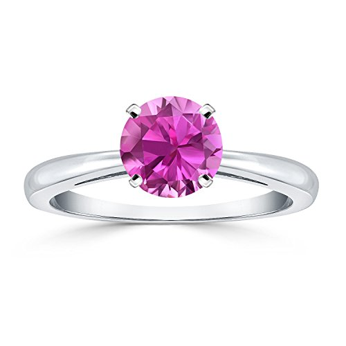 14K White Gold Round-Cut Pink Sapphire Gemstone Solitaire Engagement Ring 4Prong (1 cttw) Size 6
